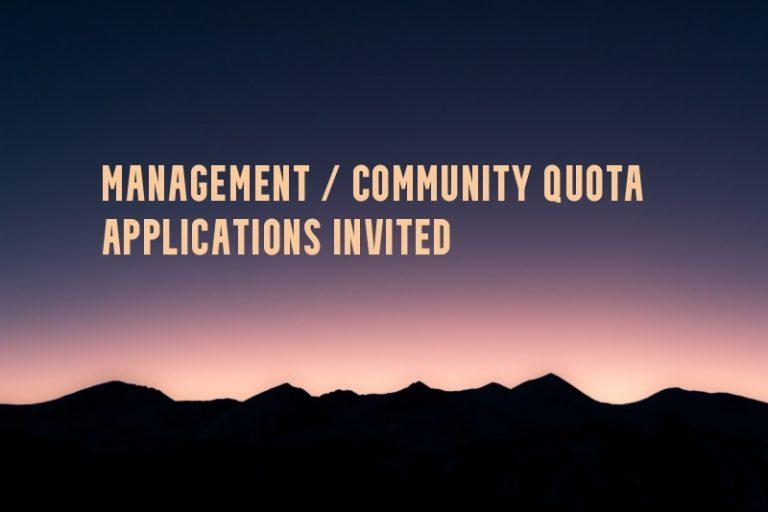 Application for Management / Community Quota